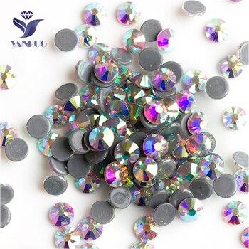 YANRUO 2058HF SS20 AB 1440Pcs Flache Rückseite DIY Strass Hot Fix Glas Steine Und Kristalle Hotfix Strass Für Kleidung