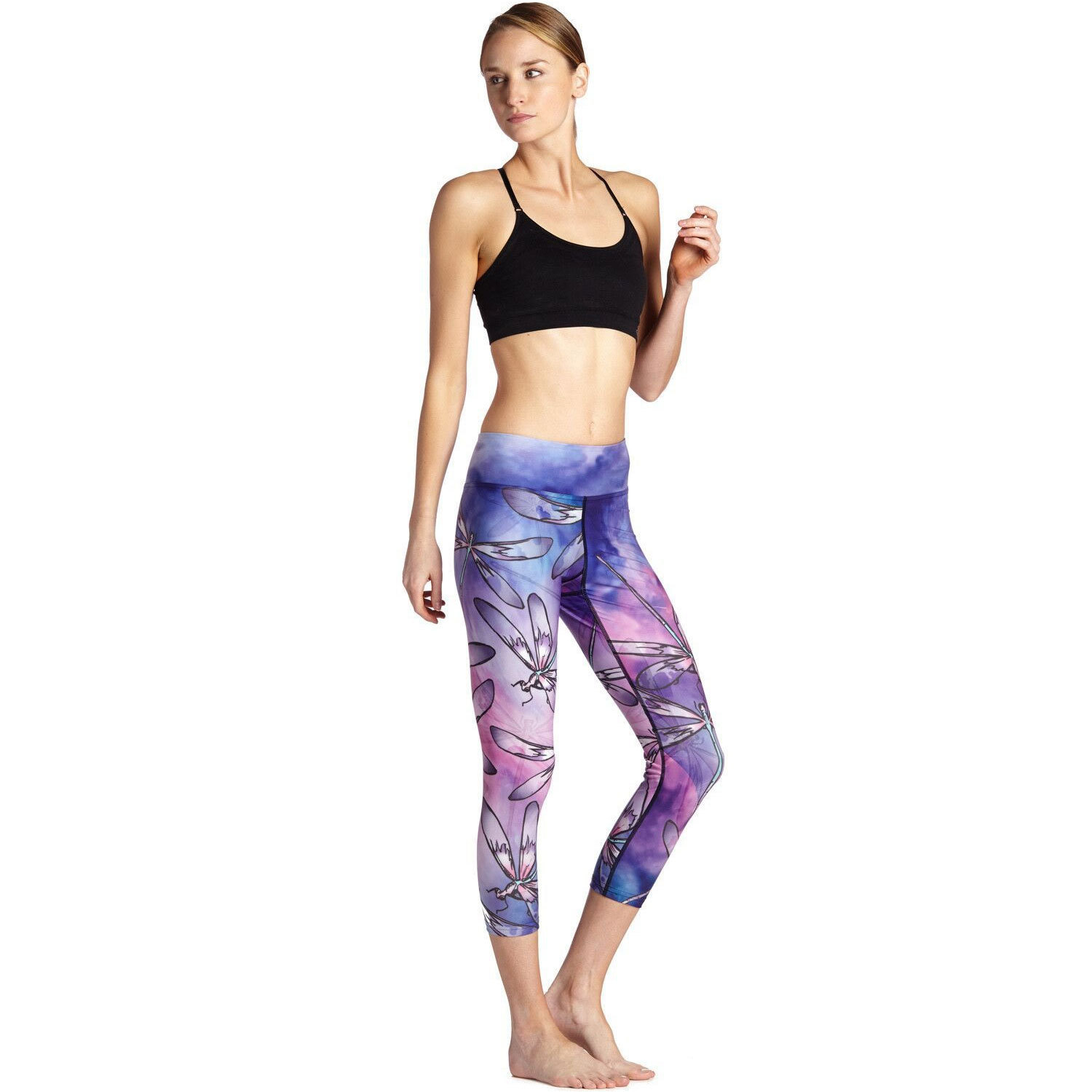 Purple Dragonfly Slim Exercise Breathable Running Sweat-absorbing Women's Seven-point Lady Pants Leggings
