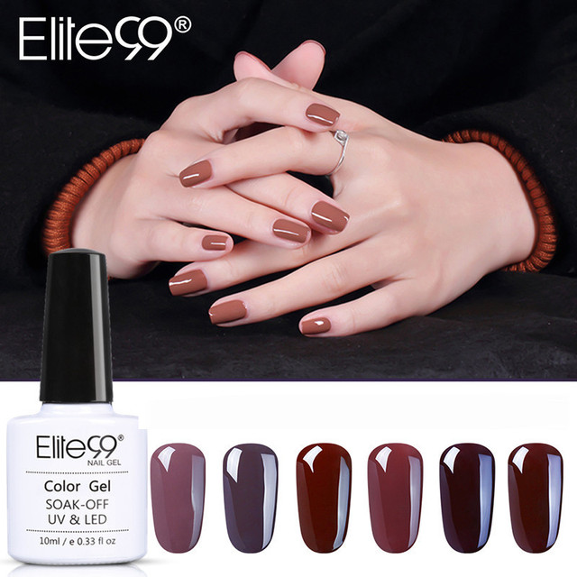 Elite99 10 ミリリットルネイルアートジェル純粋な色コーヒーブラウン 1 12 UV LED ネイルジェルポリッシュソークオフワニスラッカーの持続表面