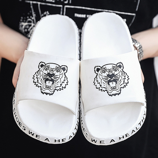 Colorful Tiger Head Tiger face Mens Soft Anti-Slip Comfortable Slippers Indoor Beach Flip Flops for Men