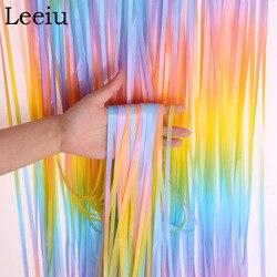Leeiu 1X2M Unicorn Party Rainbow Tinsel Curtain Tassel Garland Wedding Backdrop Happy Birthday Party DIY Decoration Baby Shower