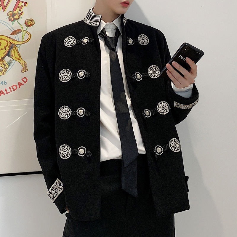 Gothic Blazer Coat Men Vintage Embroidery Stand Collar Loose Casual Suit Jacket Male Streetwear Hip Hop Outerwear Stage Clothes