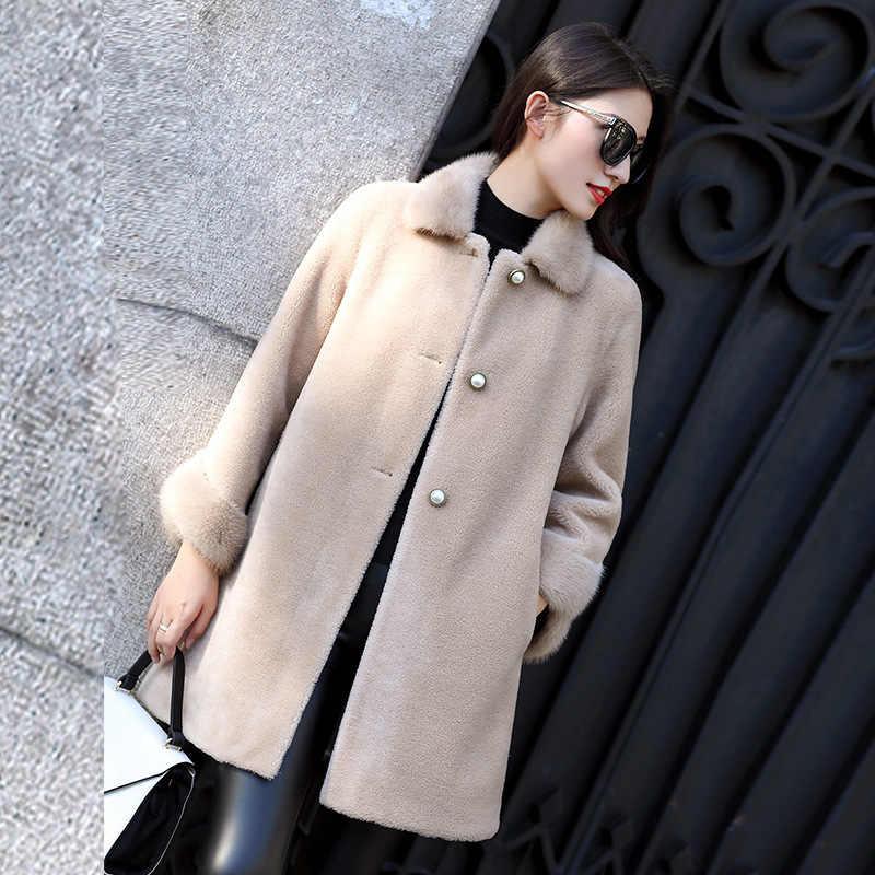 Echte Bontjas Vrouwen Winter Jas Schapen Scheren Wol Bontjassen Vrouwen Nertsen Bontkraag Lange Koreaanse Kleding 2020 ZM-18553 KJ3137