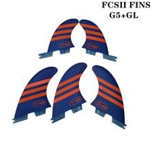 Surfboard FCS2 G5+GL fins Blue/Red color Honeycomb Fibreglass fin Tri-quad set