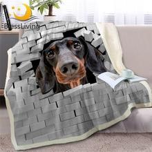 BlessLiving Dachshund Throw Blanket on Bed 3D Animal Dog Plush Sherpa Bulldog Bedspread Cracked Bricks Wall Thin Quilt