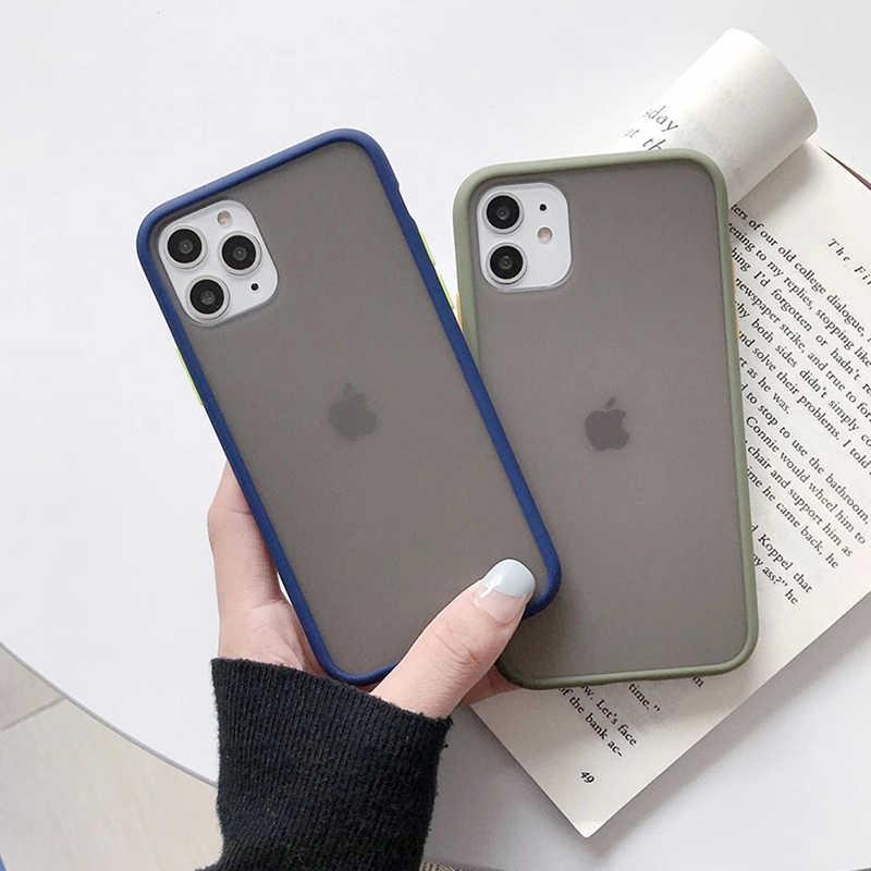 Mat sert telefon kılıfı için OnePlus 6 67 7 7T Pro kılıfı iPhone 11 Pro Max Xs XR X 6 6S 7 8 artı 5 5S temizle sert arka kapak kılıf
