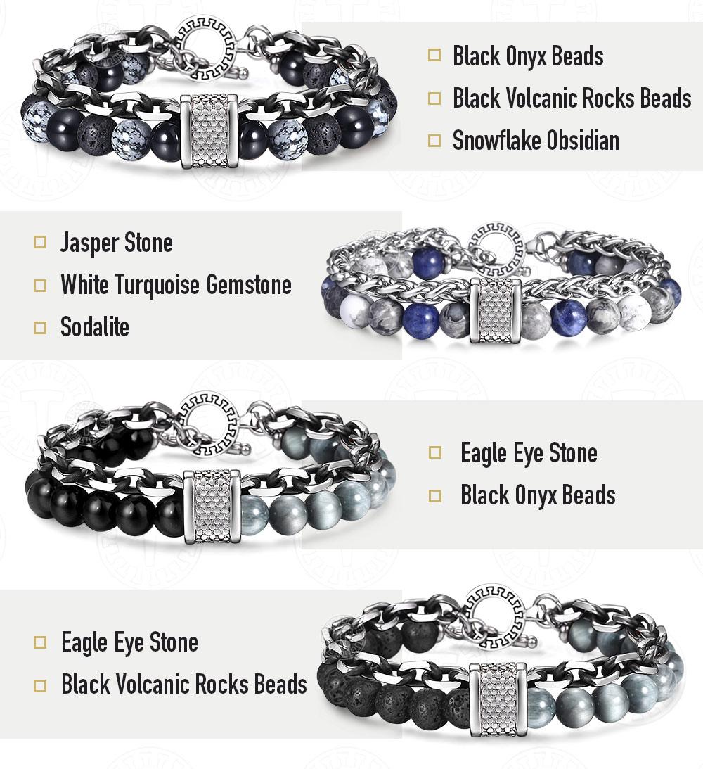 Stone and steel bracelet