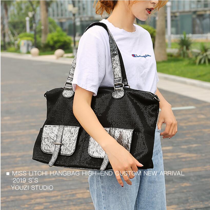 Große Kapazität Leder Taschen für Frauen Reise Messenger Taschen Große Tote Handtasche Reisetasche - 2