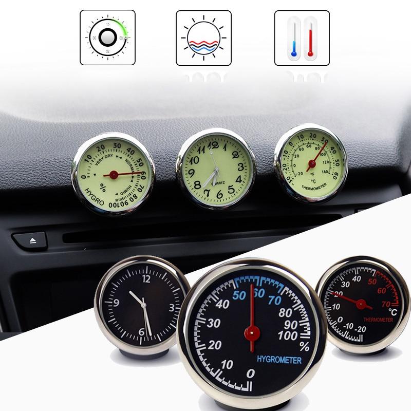 Car Clock Thermometer Hygrometer Internal Stick-On Auto Interior Luminous Quartz clock Automotive interior