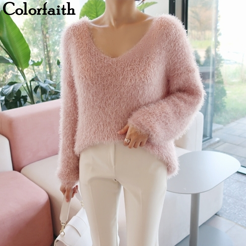 Colorfaith New 2019 Autumn Winter Women's Sweaters Loose Casual Fashionable Minimalist Tops Korean Style Knitting Ladies SW9160