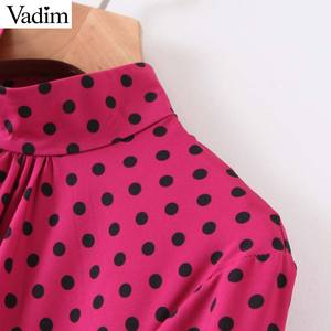 Image 3 - Vadim frauen chic tupfen lange kleid langarm fliege schärpen weibliche büro tragen stilvolle chic kleider vestidos QD132