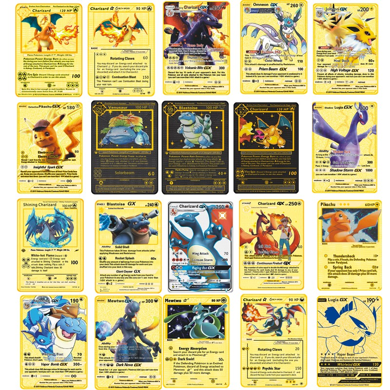 Pokemon Metal Card Game Anime Battle Card Gold Charizard Pikachu Collection Card Action Figure Model Child Toy Gift