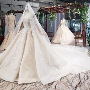 Image 4 - HTL698 luxury wedding dresses with wedding veil beaded boat neck off shoulder handwork lace wedding gowns 2020 encontrar loja