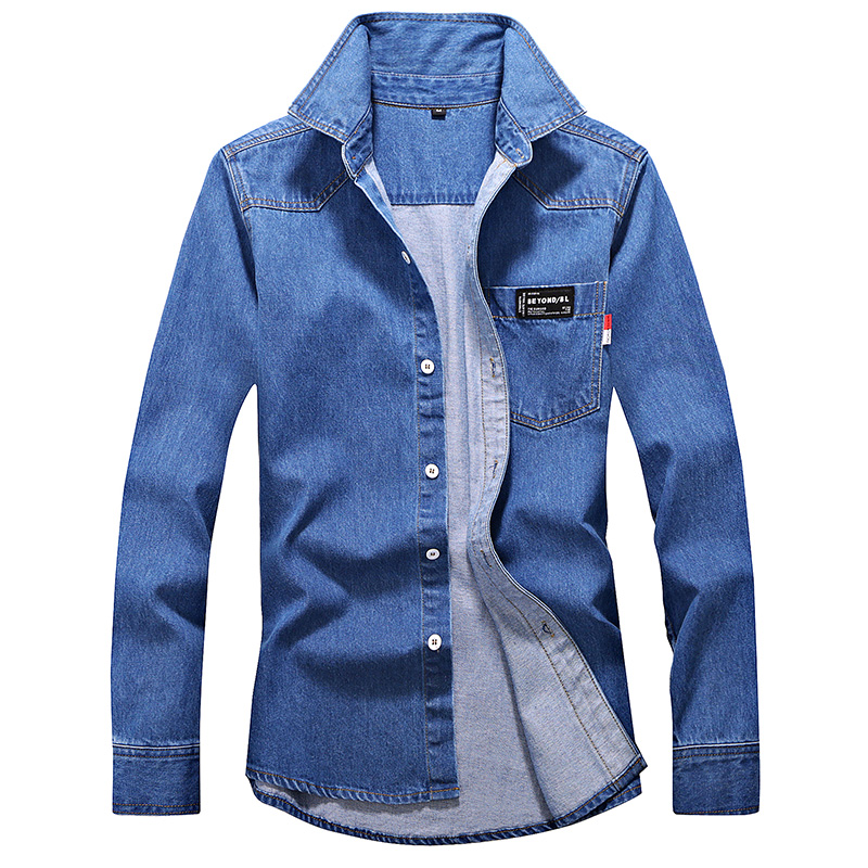 Denim Shirt Men's Autumn And Winter Plus Velvet Thick Casual Shirt Fashion New Long-sleeved High-quality Jacket