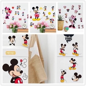 Cartoon Cute Mickey Minnie Mouse ściana z balonami naklejki kalkomanie lub pokój dziecięcy dekoracja ścienna do sypialni Park plakat przedszkole rozrywki tanie i dobre opinie Disney CN (pochodzenie) Płaska naklejka ścienna AMERYKAŃSKI STYL Do lodówki Do płytek For Wall Naklejki na meble Jednoczęściowy pakiet