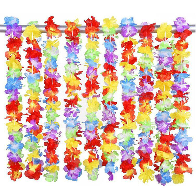 100pcs/lot hawaii party leis flower wreath garland hawaiian necklace torpil hawai floral farmhouse decor