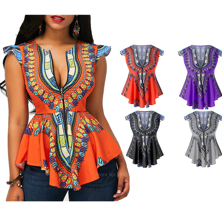 Summer wear Ankara shirt African Ladies  Dashiki Top African wear