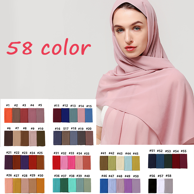 10 Pcs/lot Wholesale Plain Bubble Chiffon Muslim Hijab Scarf Foulard Headband Scarfs Shawls Wraps Soft Bandana Scarves