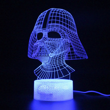 цена на Star Wars Darth Vader Mask Lamp 3D Remote Control Table Light Sleep Night Lamp RGB Party Decoration Projection Light