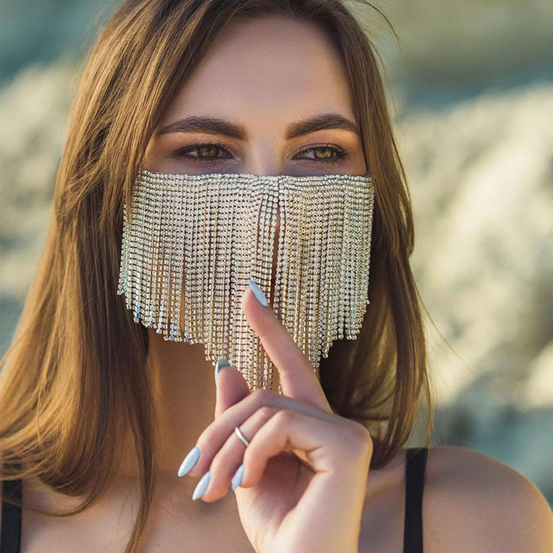 HIgh Quality Rhinestone Fringe Tassel Jewelry Mask Women Bling Crystal Mask Night Club Dance Show Female Mask Body Chain