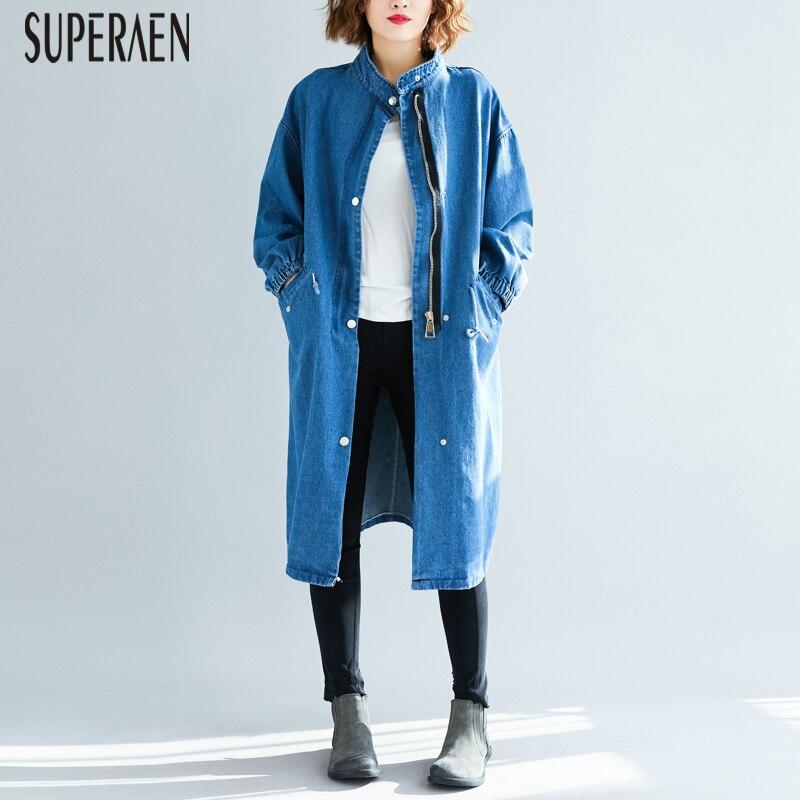 SuperAen Korean Style Denim   Trench   Coat for Women Zipper Autumn New 2019 Ladies Windbreaker Wild Casual Women Clothing