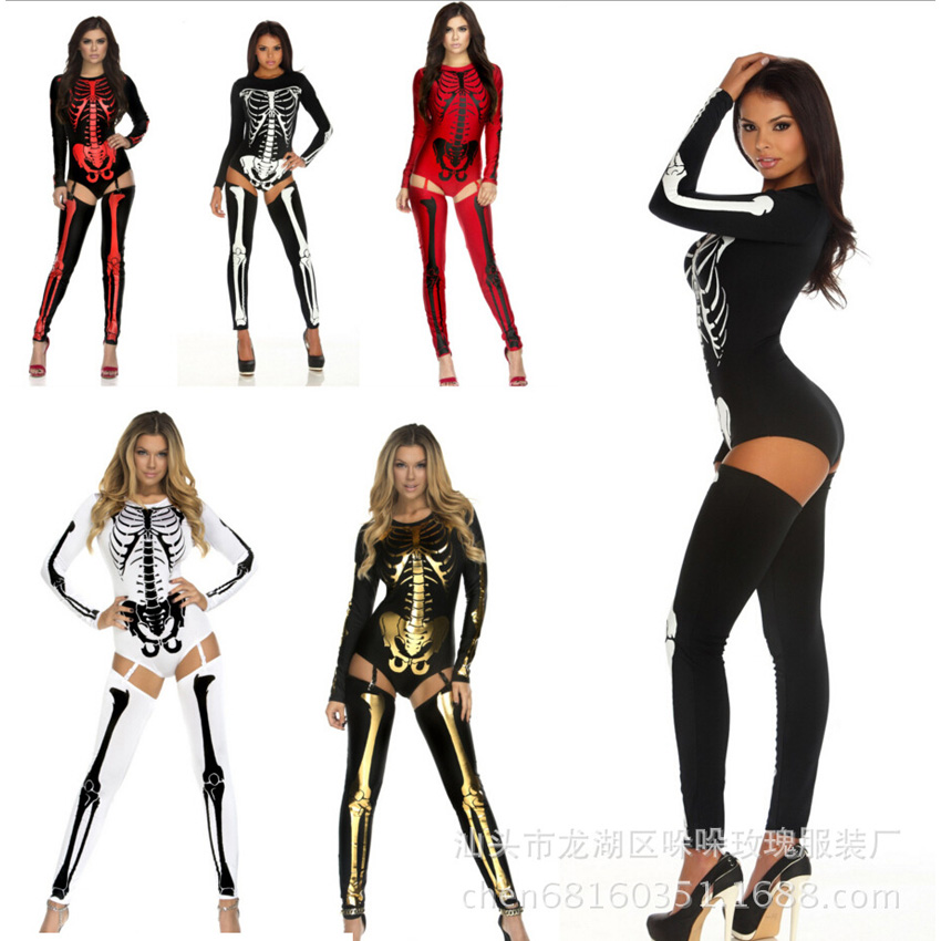 <font><b>Halloween</b></font> Cosplay Costumes <font><b>Women</b></font> Scary Horror Skeleton Clothing Nightclub DS Suit <font><b>Sexy</b></font> Jumpsuit Bodysuit Gothic Zombie <font><b>Dress</b></font> image