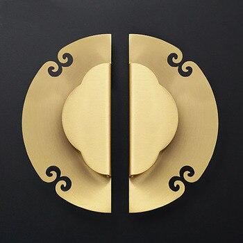 1 set Round Solid Brass Cabinet Knobs and Handles Drawer Furnitures Cupboard Wardrobe Knobs Book Cabinet Door Pull
