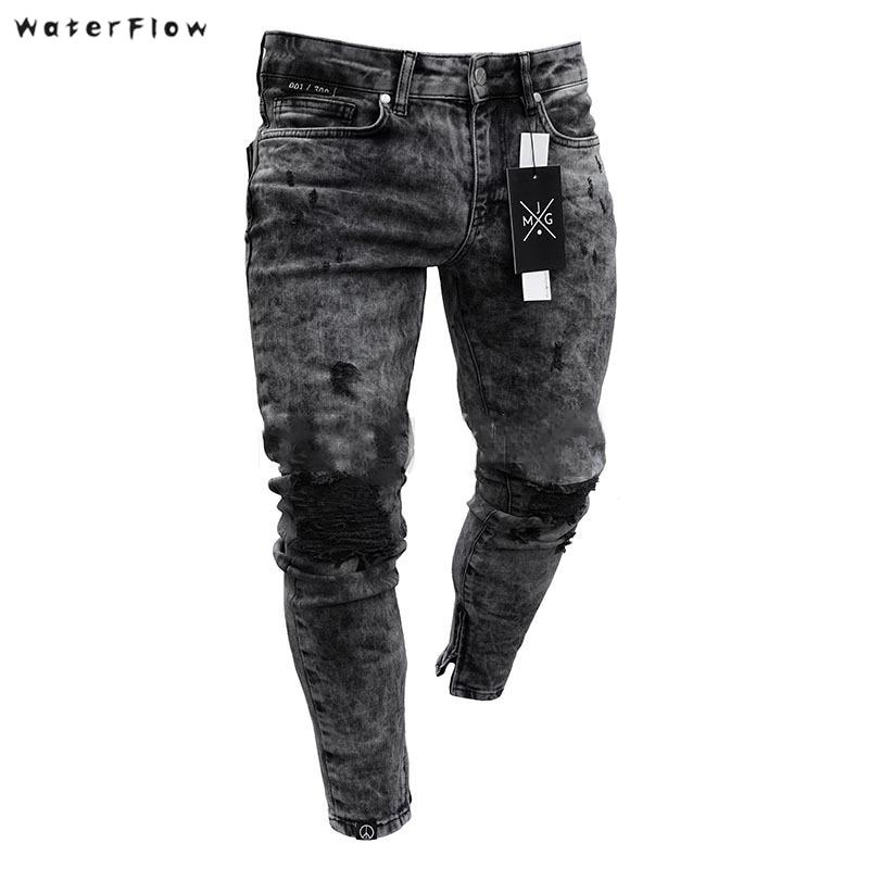 Fashion Men Black Jeans Skinny Ripped Stretch Slim New Hip Hop Swag Man Casual Denim Holes Jeans Pants