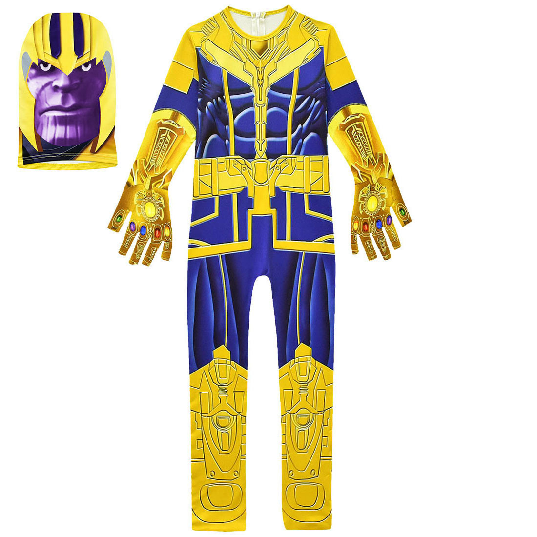Boys Halloween Party Thanos Kids Cosplay Costume Avengerss Thanos Costumes Kids Jumpsuits Mask Glove Carnival  Cosplay Costume 2