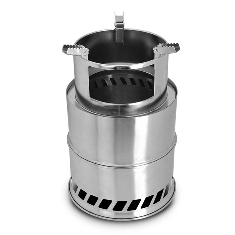 HobbyLane Camping Stove Portable Stainless Steel Wood Stove Camping Equipment for Outdoor Hiking Camping Traveling Picnic BBQ image