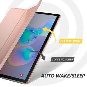 Image 5 - Чехол для Samsung Galaxy Tab S6 10,5 2019, ультратонкий тройной складной чехол подставка с матовой задней стенкой и функцией автоматического пробуждения и сна
