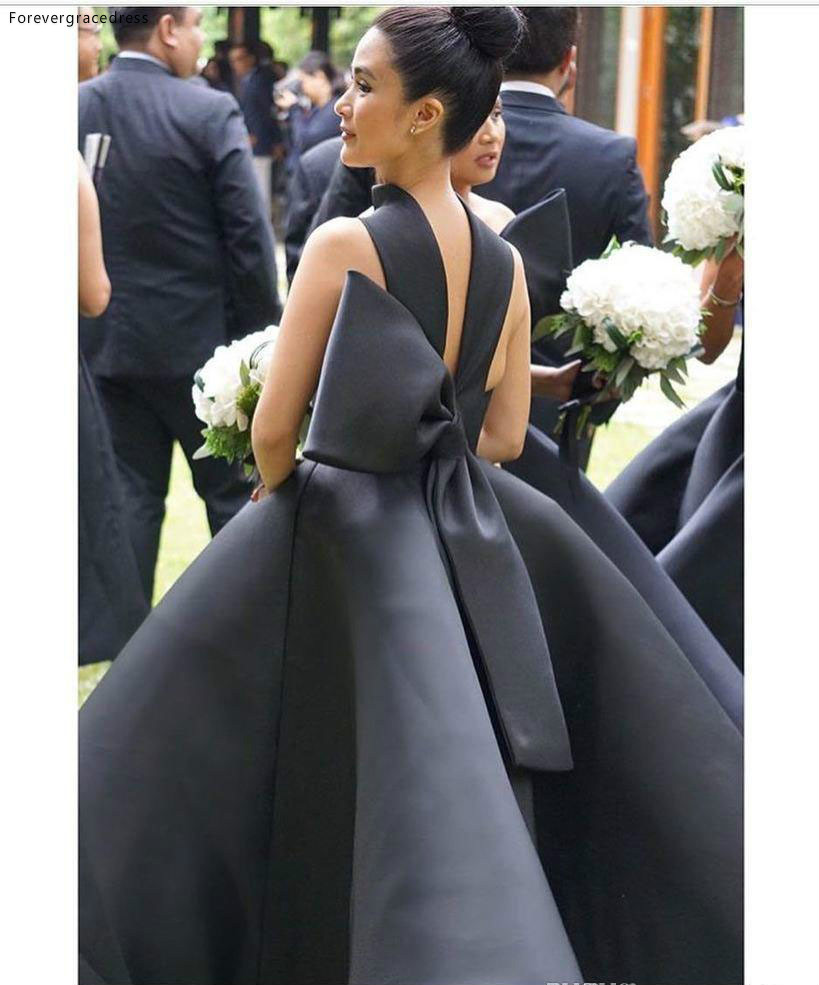 Black Elegant 2016 Arabic Bridesmaid Dresses Halter Ball Gown Satin Maid Of Honor Dresses Ankle Length Formal Party Gowns  91 (2)