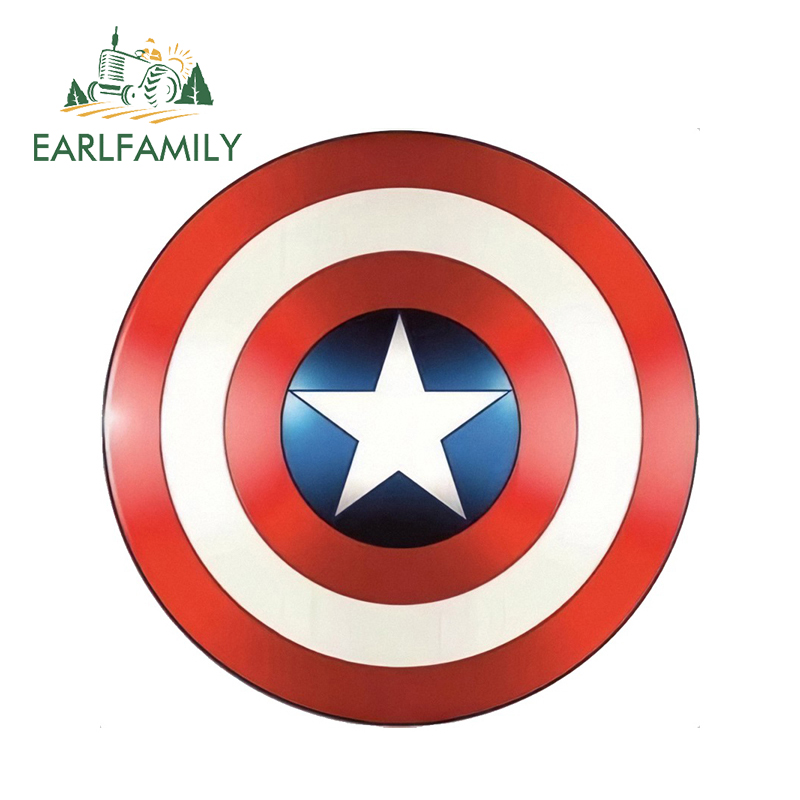 EARLFAMILY 13cm x Captain America Shield Super Hero Marvel Car Stickers Window Bumper Laptop Waterproof Vinyl Decal