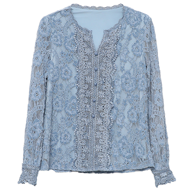 Autumn Fashion Vintage Blouse Women 2021 New Long Sleeve Floral Lace Womens Blouse Office Lady Casual Shirt For Women Tops 11303 5
