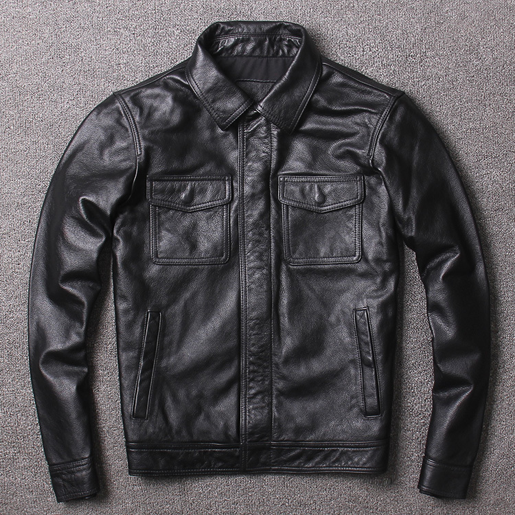 Free Shipping,plus Size Genuine Leather Jacket,mens Classic Vintage Cowhide Coat,quality Casual Slim Frock Jackets.sales.brand