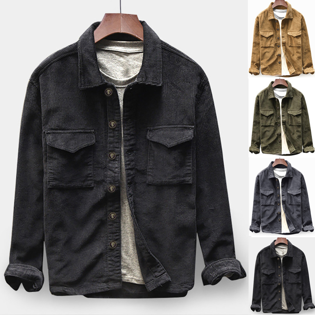 Mens Autumn Fashion Shirts Casual Long Sleeve Solid Tops Corduroy Casual Blouse Autumn Winter Dropshipping Size Leisure Work Clo