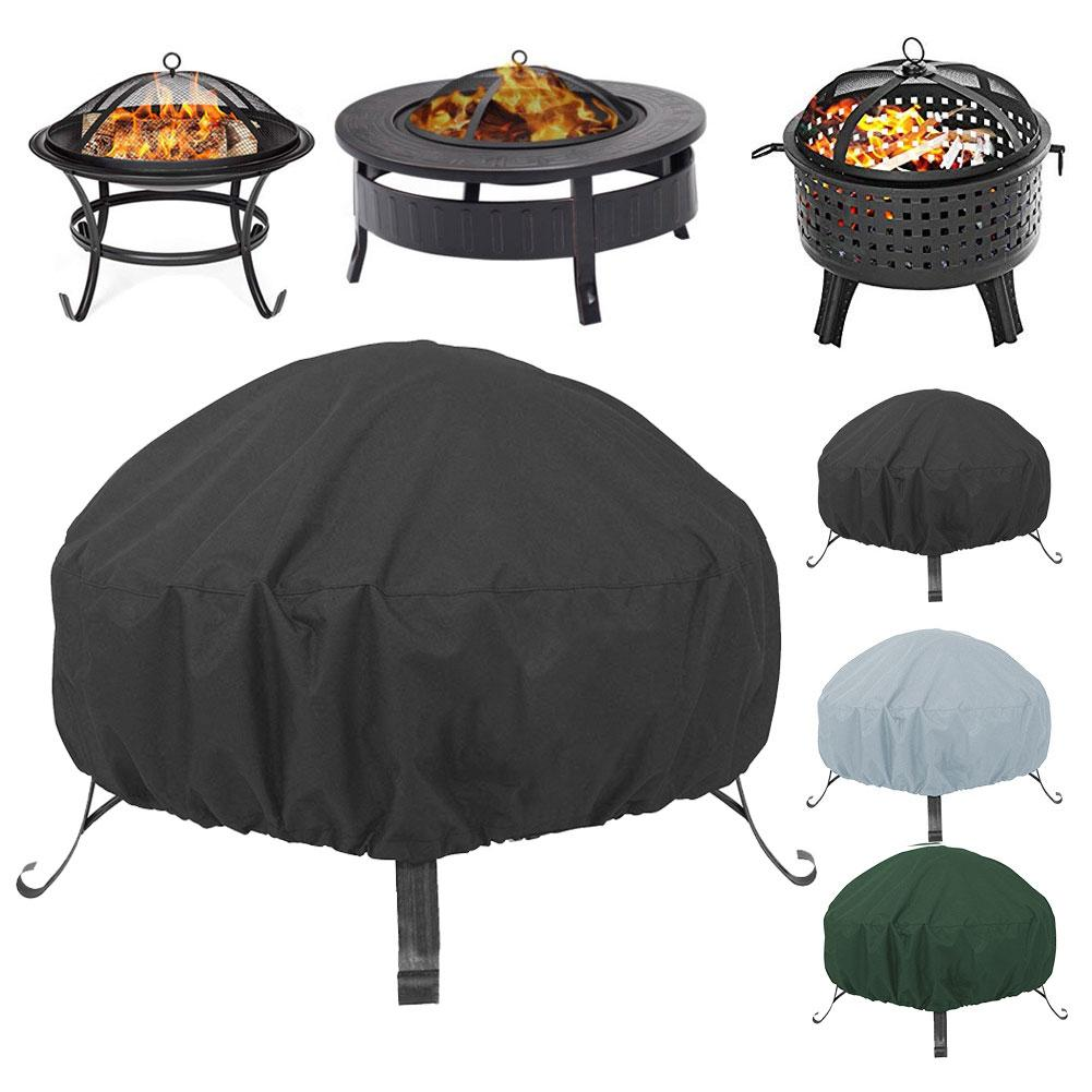 Waterproof Patio Round Fire Pit Cover Dustproof UV Protector Grill Dust Cover