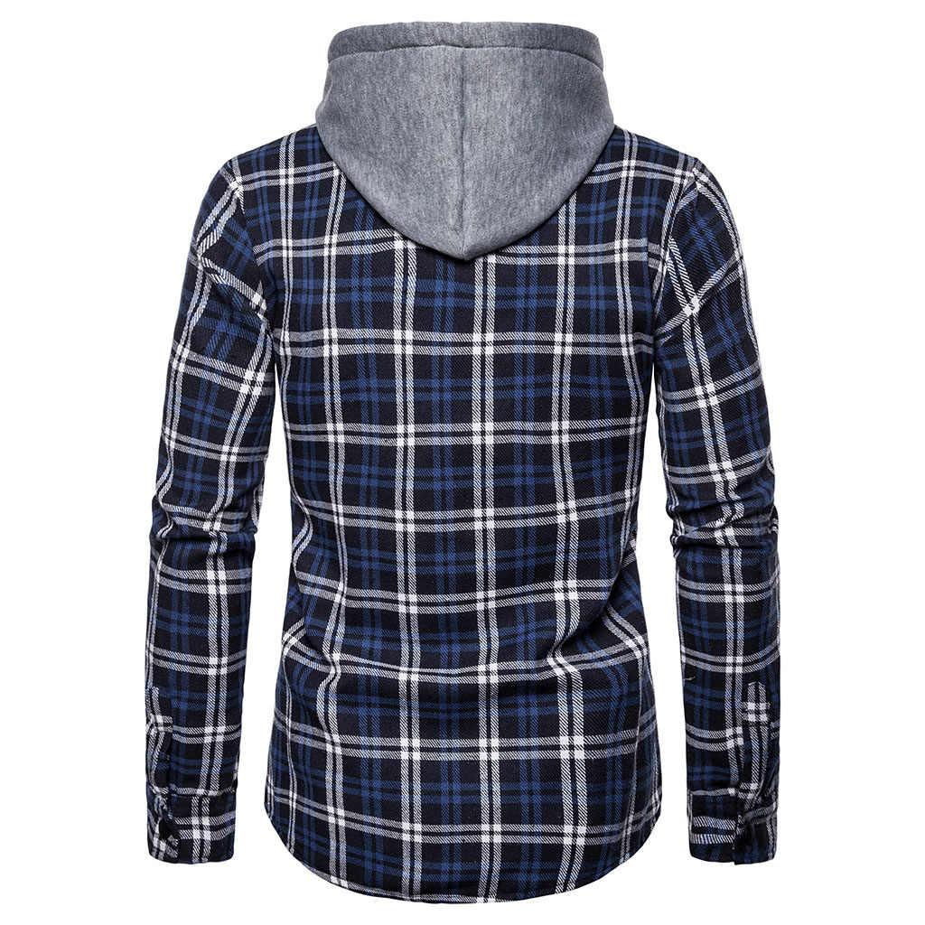 Monerffi Femme 2019 Hoodie Pakaian Latihan Yg Hangat Pria Musim Gugur Kemeja Kotak-kotak Kasual Lengan Panjang Pullover Kemeja Top Blus Bertudung Pakaian Olahraga