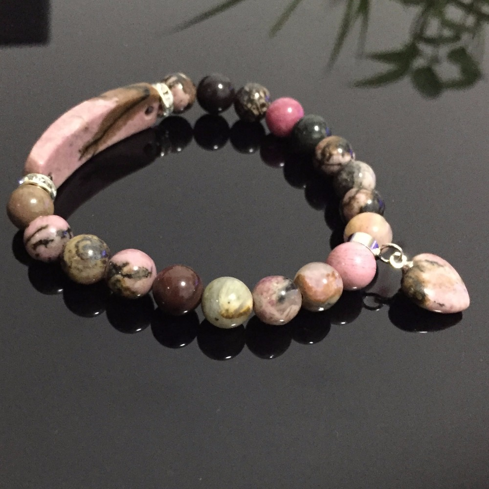 Natural Rhodonite Stone Bracelets Bangle Heart Charm Round Ball Reiki Healing Stone Rectangle Bar Strand Bracelets Women Jewelry