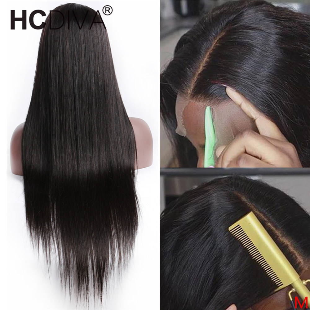 Wig Human-Hair Lace-Front Women Straight Brazilian with 13--4/6 Deep-Part for Pre-Plucked title=