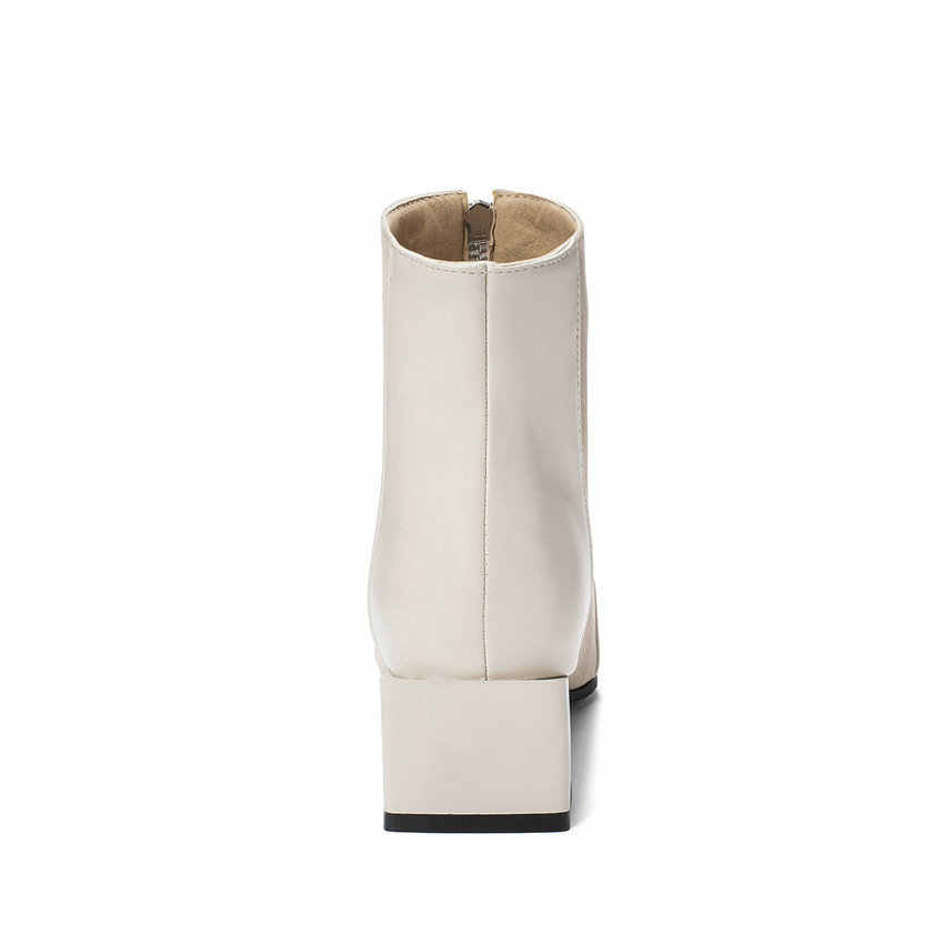 QUTAA 2020 Retro Kare Ayak Patchwork PU Deri Fırçalama Moda Kadın Ayakkabı Kare Topuk Kristal Fermuar yarım çizmeler Boyutu 34- 43