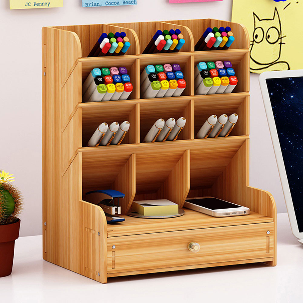 Office Supplies With Drawer Save Space Study Wooden Pen Holder Desk Organizer School Children Large Capacity Stationery Storage