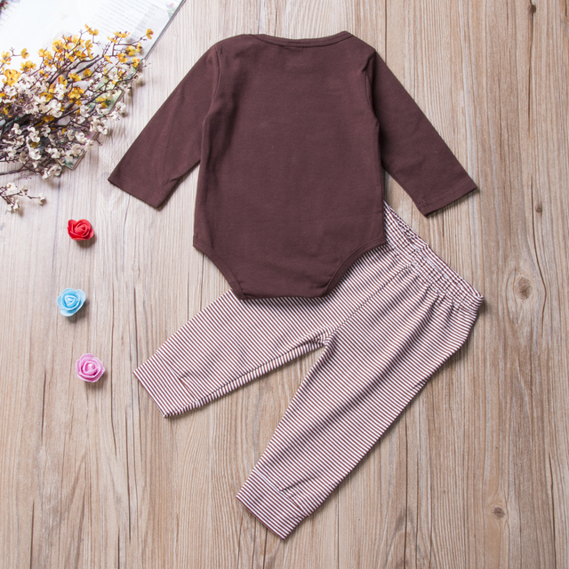 Newborn Toddler Baby Boys Girls Long Sleeve Bodysuit Striped Pants My First Thanksgiving Outfits 2PCS autumn casual Clothes Set 2
