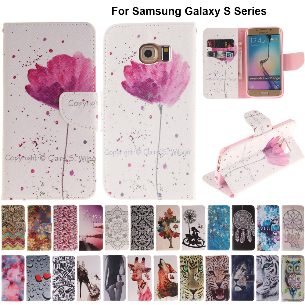 B42 Orchid Flip Leather Case Wallet Cover For Samsung Galaxy S3 S4 S5 S6 Edge Plus G9280 G9250 <font><b>G870</b></font> S7 S8 S9 Plus Coque image