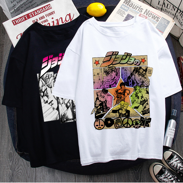 Jojo Bizarre Adventure Funny Cartoon T Shirt Men Fashion Japanese Anime T-shirt Graphic Summer Tshirt Hip Hop Top Tees Male