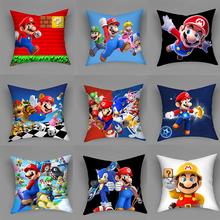 Super Mario poszewka pokrycie na poduszkę poliester kreskówka Mario drukowane rzuć poduszka pokrywa poduszki na sofę Home Decoration poszewka tanie tanio CN (pochodzenie) PRINTED Żakardowe Tkane Cartoon Plac Seat Dekoracyjne Chair Samochód Poliester bawełna Other Shape Cushion Cover