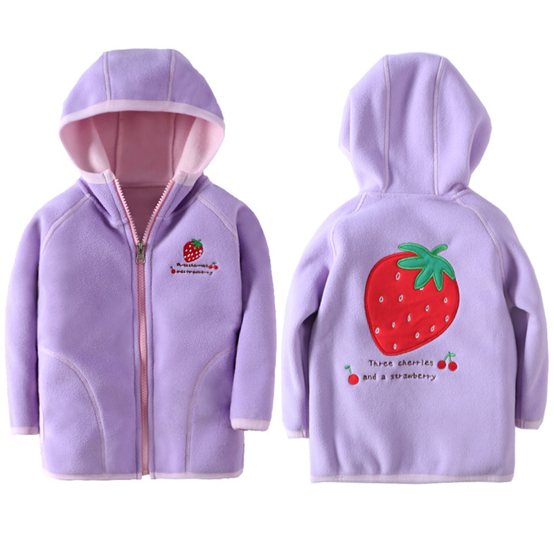 Jacket Kids Girl Hooded Long Sleeve Boy Outerwear Strawberry Embroidery Polar Fleece Coat Children Clothes For 18M-7 Years 1