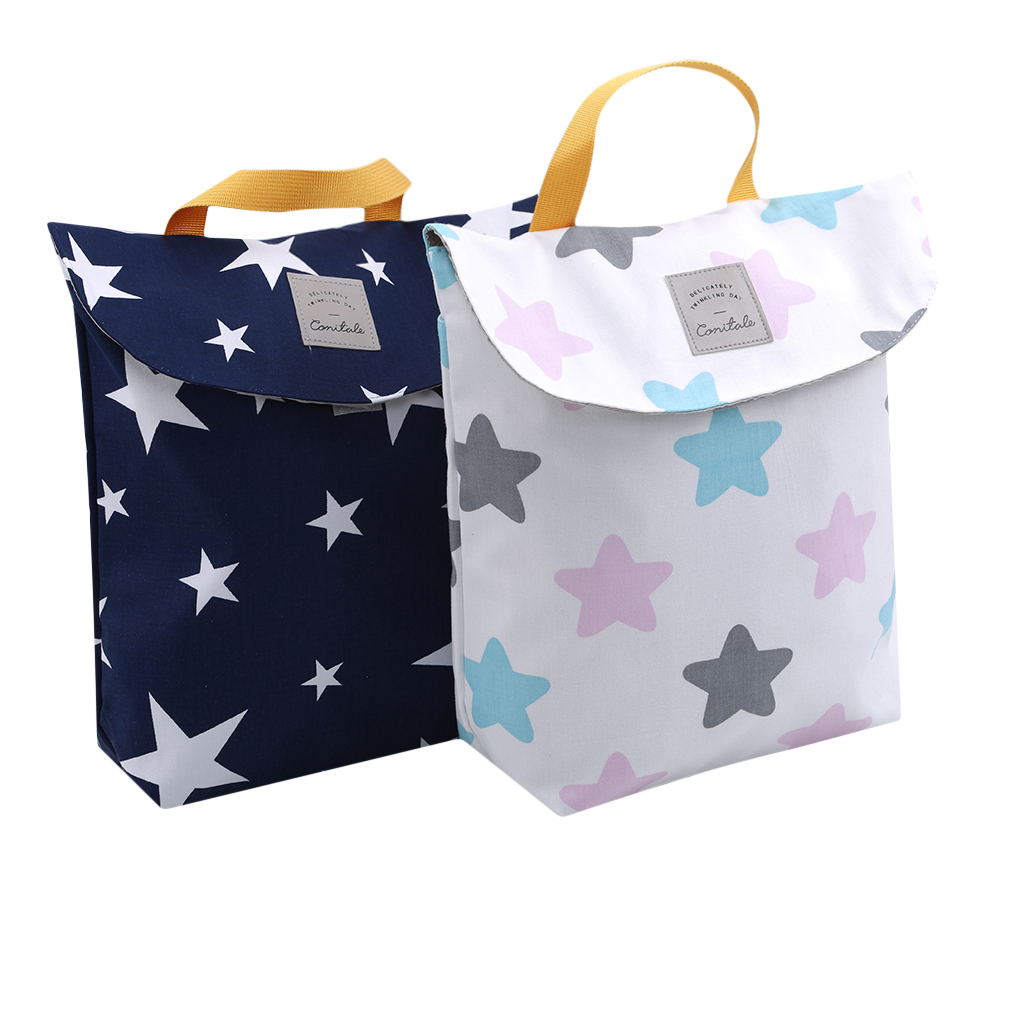 Large Size Baby Stroller Diaper Organizer Reusable Waterproof Fashion Print Wet/Dry Bag Mummy Storage Bag Outdoor Nappy Bag