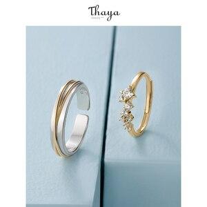 Image 3 - Thaya gümüş 925 takı yüzük altın yıldız parça raylı orijinal tasarım kadınlar için Bijoux kadın hediye güzel takı