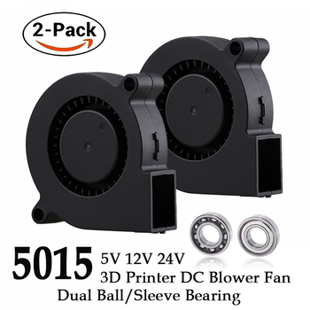 2PCS Gdstime 5015 50mm DC 24V 12V 5V 2Pin Ball/Sleeve Bearing Brushless Cooling Turbine Blower Fan 50mm x 15mm Blower Cooler Fan 2pcs 5015 50mm dc 24v 12v 5v 2pin ball sleeve bearing brushless cooling turbine blower fan 50mm x 15mm blower cooler fan